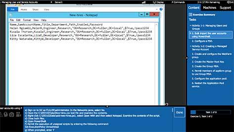 Example ITProTV virtual lab